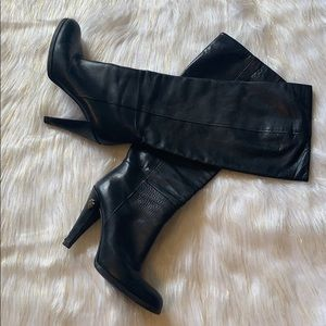 Gucci knee high heels leather black Sz.38 boots